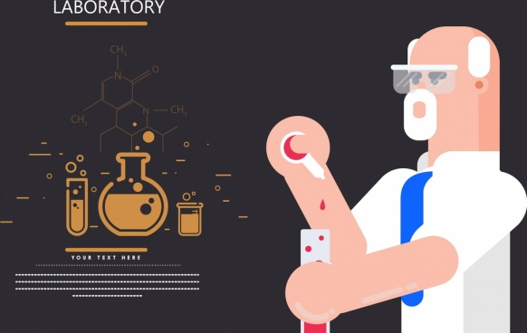 laboratory banner male scientist tool molecule icons decor