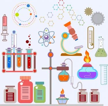 laboratory design elements multicolored flat symbols icons