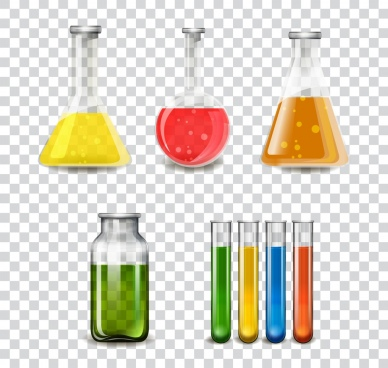 laboratory glassware tools icons multicolored flat design