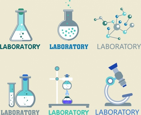 laboratory logotypes glassware molecule microscope icons