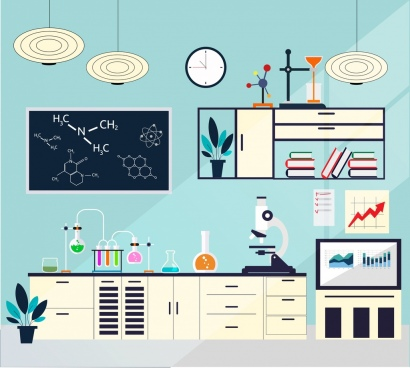 laboratory room background colored flat design