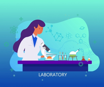 laboratory work background female scientist molecule tools icons