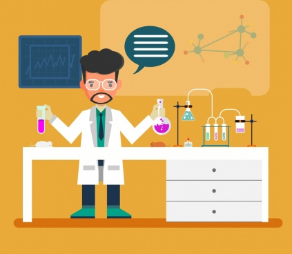 laboratory work background male scientist tool icons decor