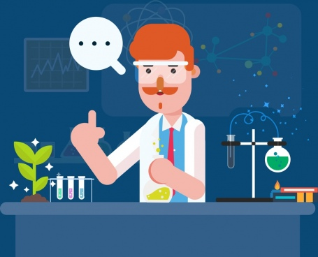 laboratory work background scientist experiment icons cartoon design