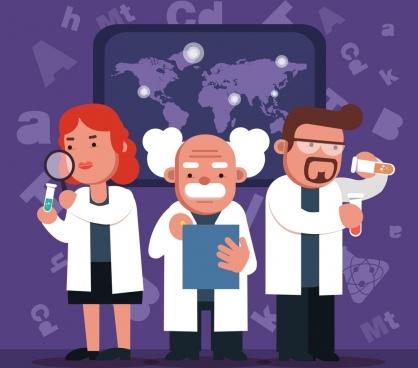 laboratory work background scientist icons chemistry design elements
