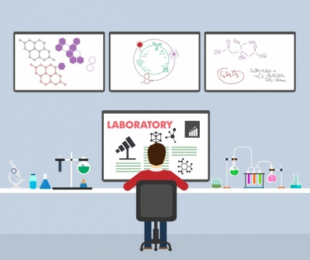laboratory work background scientist tools chemical formulas decor