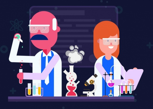 laboratory work drawing scientists tools experiment icons