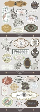 animals label templates flat classic paper cut