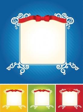 border templates 3d red ribbon decor classical design