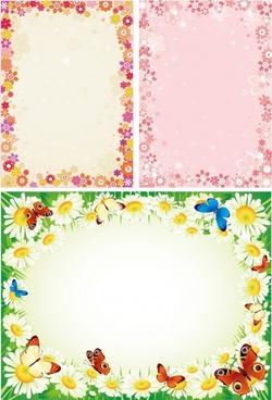 border templates colorful flowers decor