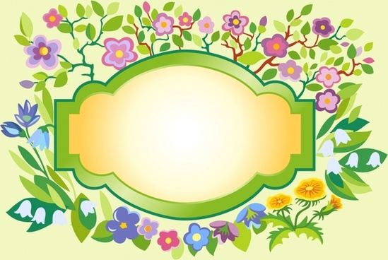 decorative flowers frame template shiny colorful flat