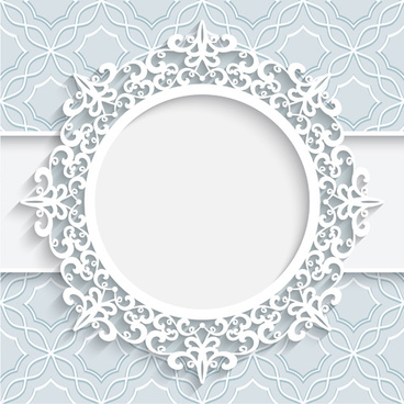 lace ornament paper frame vector