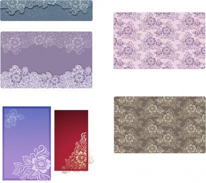decorative pattern sets flowers ornament colored retro design