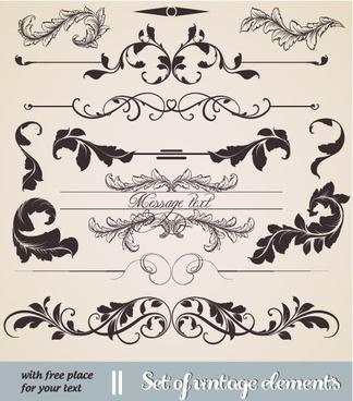 decorative elements collection vintage symmetric curved leaf sketch