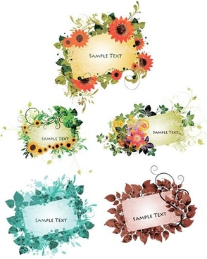 natural frames templates colorful flowers leaves decor