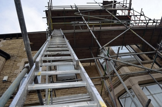 ladder on a scaffold