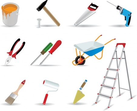 construction work tools icons colored modern 3d sketch