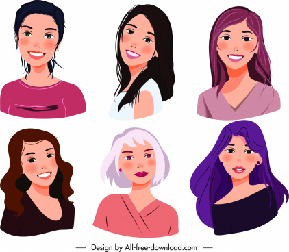 ladies avatars icons colored cartoon characters sketch