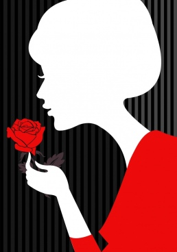 lady and rose background white silhouette design
