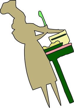 Lady Cooking Food clip art
