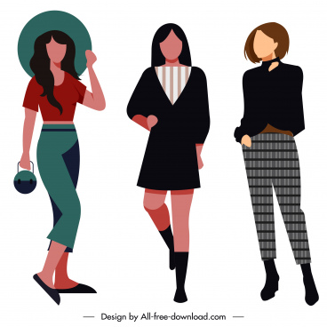 lady fashion icons cartoon characters sketch elegant design