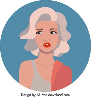 lady portrait avatar template cartoon character sketch