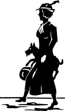 Lady Walking Dog clip art