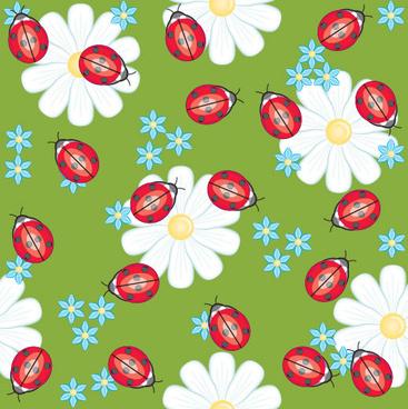 ladybug flower background vector
