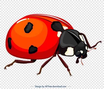 ladybug insect icon black red 3d design