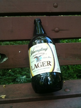 lager on a bench