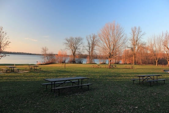 lake and picnic area at pike lake state park wisconsin