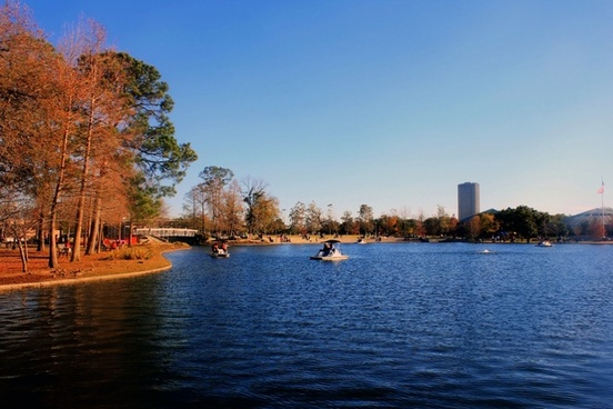 lake at hermann park in houston texas
