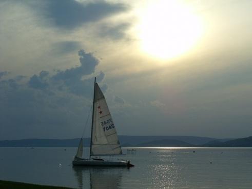 lake balaton sunset sailing