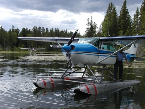 lake float plane flying