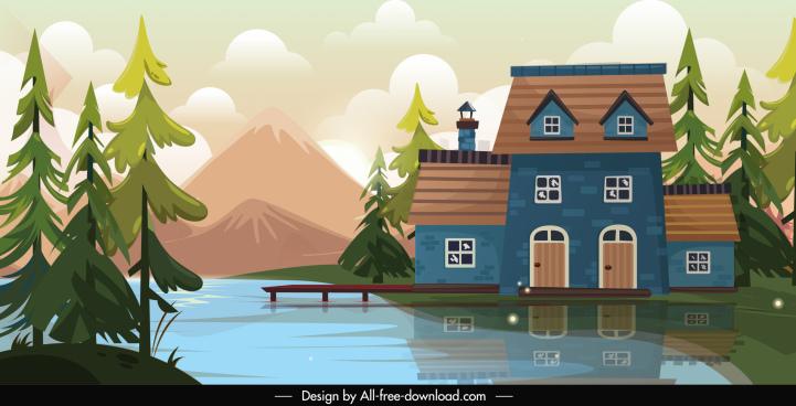 lake house landscape painting elegant colorful sketch