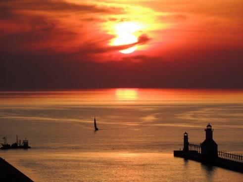 lake michigan sunset sky