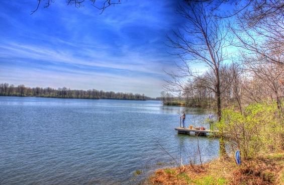 lake scenery at sangchris lake state park illinois