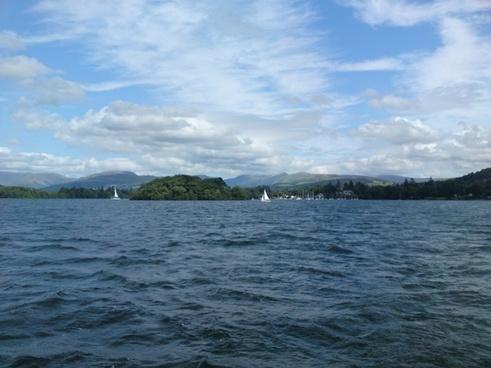 lake sky clouds