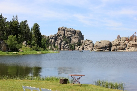 lake sylvan with a hill at the other end in custer state park south dakota