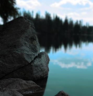 lake water rock
