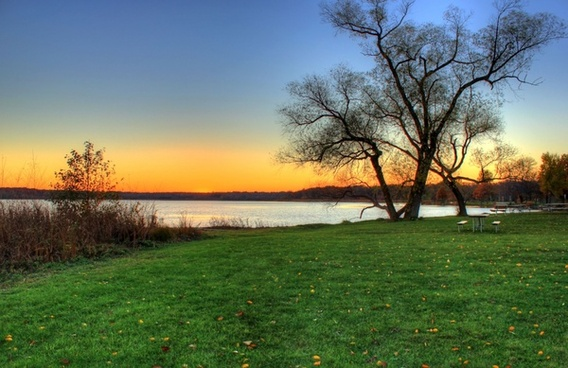 lakeside at dusk in madison wisconsin