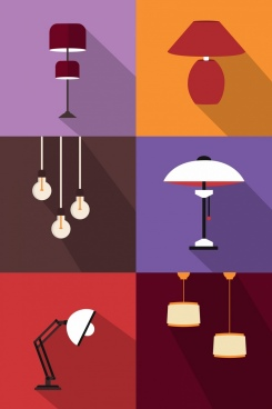 lamp icons collection classical design square isolation