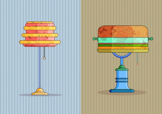 lamp icons colorful classical decor