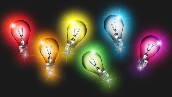 lightbulbs background colorful sparkling decor