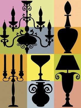 lamp icons classical design flat silhouettes ornament