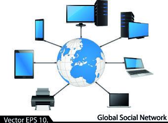 lan network diagram vector illustration
