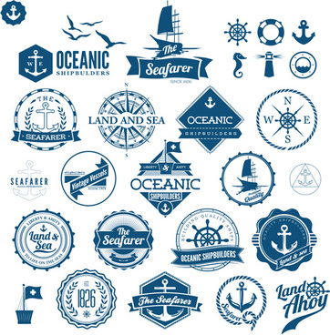 land and sea labels vintage style vector