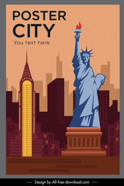 landmark poster new york symbols sketch flat design