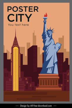 landmark poster new york symbols sketch flat design