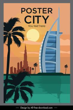 landmark poster template modern architecture sketch